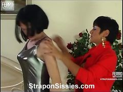 Jessica and Randolph pussyguy in strapon action