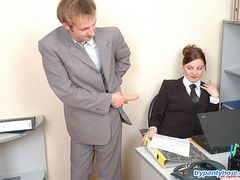 Red hot guy in control top tights getting his ass dildoed right in office