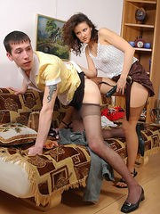 Sexy gal with strap-on turning chap into her maid and fucking him like hell